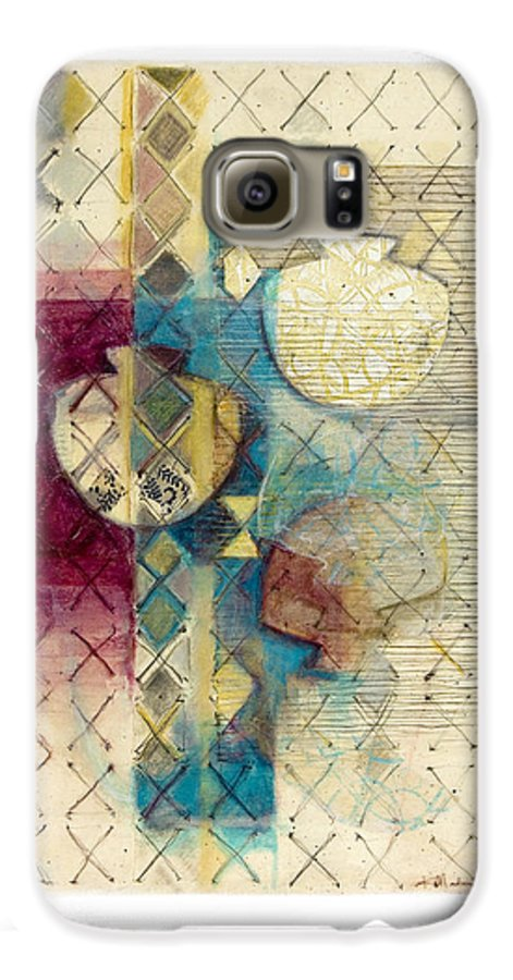 Mixed-media Galaxy S6 Case featuring the painting Trans Xs No 1 by Kerryn Madsen- Pietsch