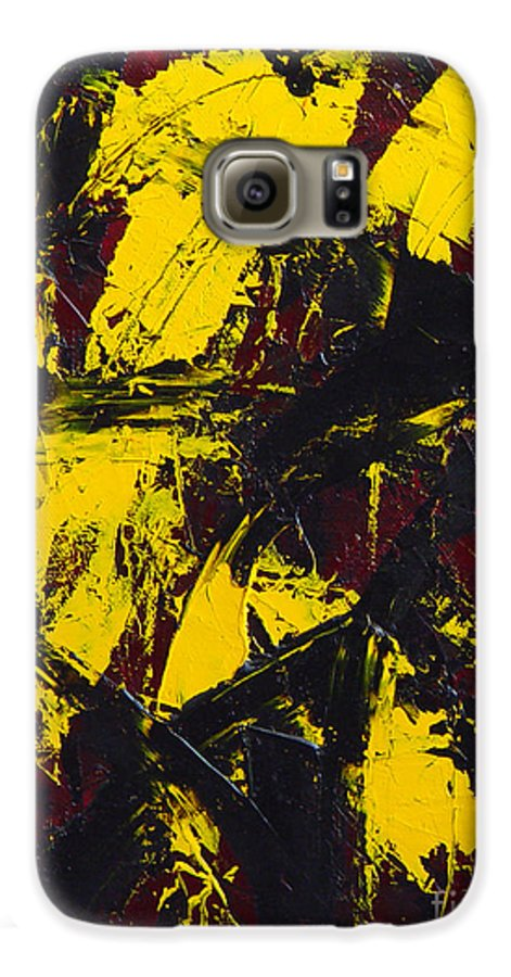 Abstract Galaxy S6 Case featuring the painting Transitions With Yelllow And Black by Dean Triolo