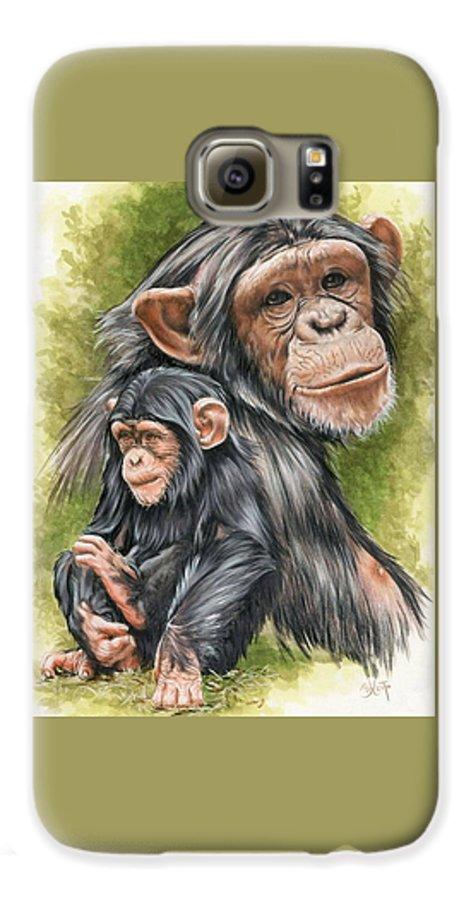 Chimpanzee Galaxy S6 Case featuring the mixed media Treasure by Barbara Keith