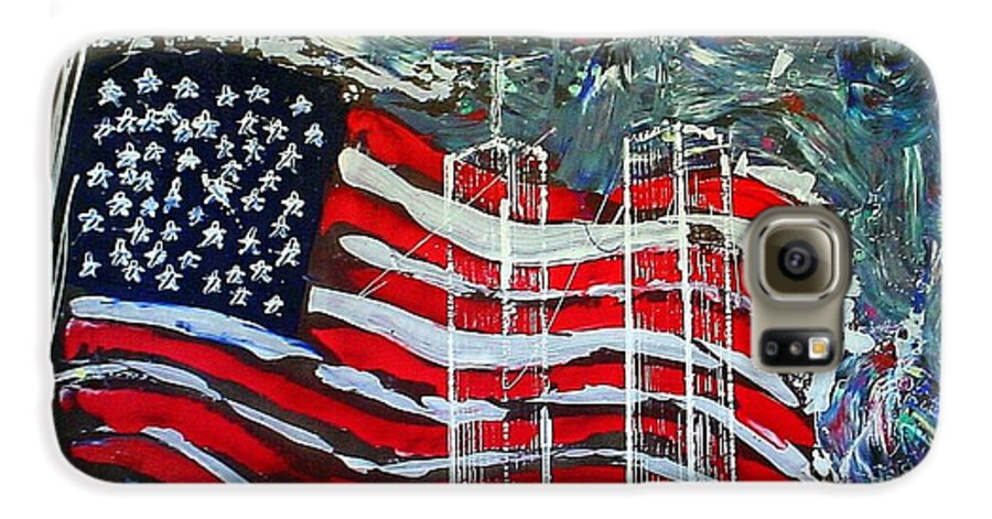 American Flag Galaxy S6 Case featuring the mixed media Tribute by J R Seymour