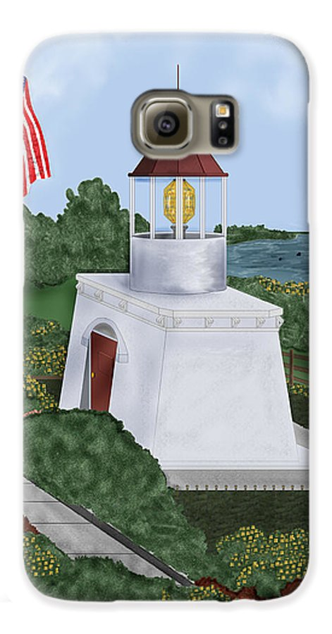 Trinidad Memorial Galaxy S6 Case featuring the painting Trinidad Memorial Lighthouse by Anne Norskog