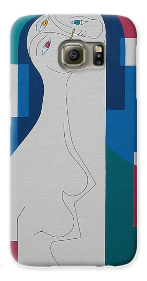 Modern Women Bleu Green Red Humor Galaxy S6 Case featuring the painting Trio by Hildegarde Handsaeme
