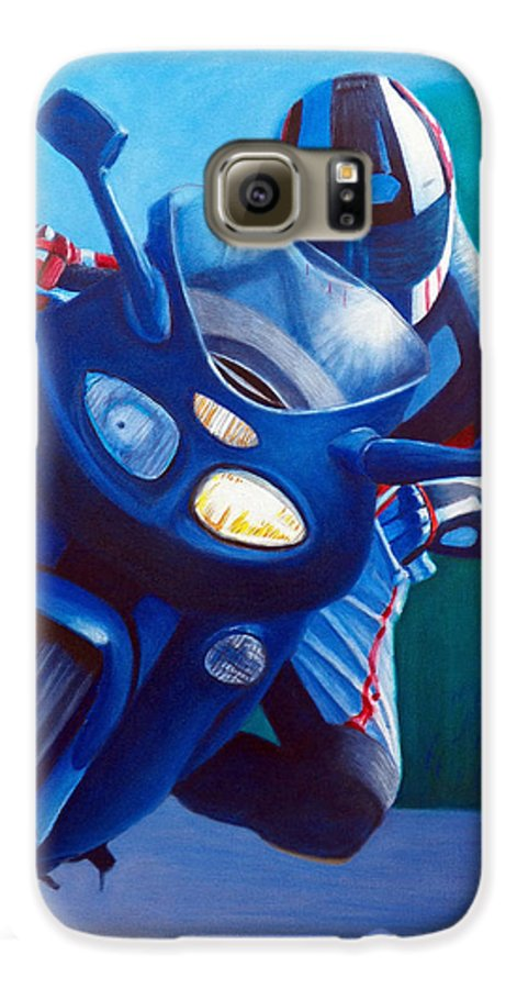 Motorcycle Galaxy S6 Case featuring the painting Triumph Sprint - Franklin Canyon by Brian Commerford