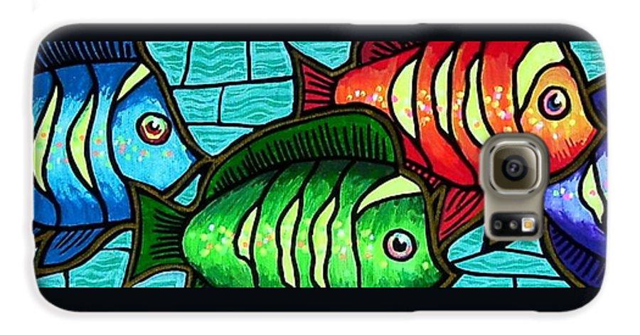 Tropics Galaxy S6 Case featuring the painting Tropic Swim by Jim Harris