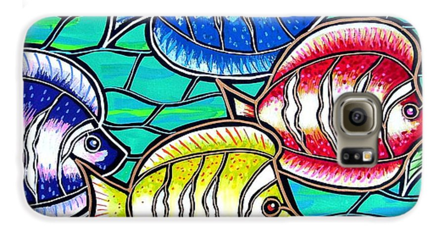 Fish Galaxy S6 Case featuring the painting Tropical Fish Swim by Jim Harris