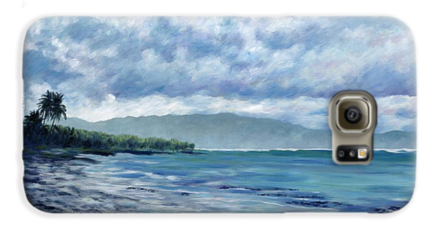 Seascape Galaxy S6 Case featuring the painting Tropical Rain by Danielle Perry