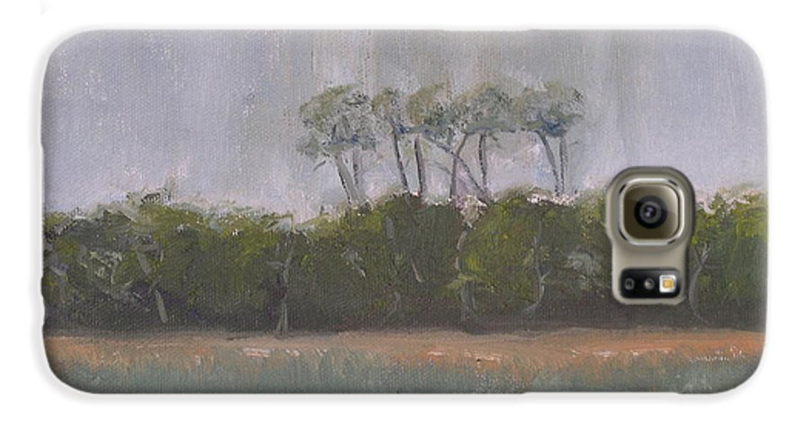 Landscape Beach Coast Tree Water Galaxy S6 Case featuring the painting Tropical Storm by Patricia Caldwell