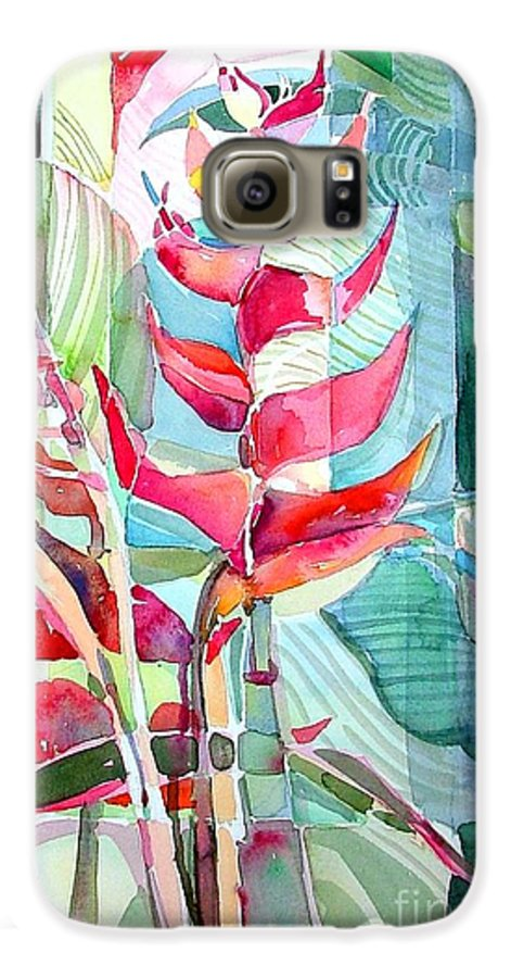 Landscape Galaxy S6 Case featuring the painting Tropicana Red by Mindy Newman