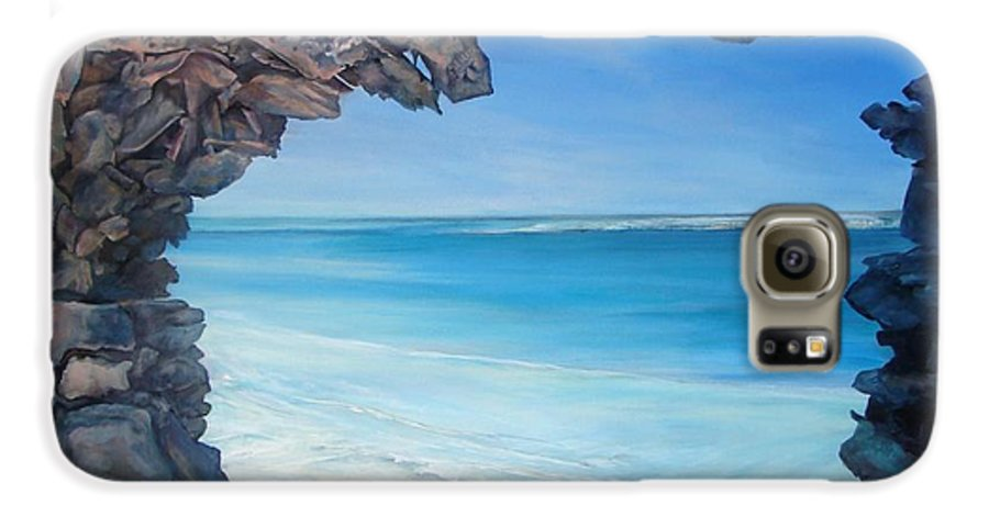 Landscape Galaxy S6 Case featuring the painting Trouee 4 by Muriel Dolemieux