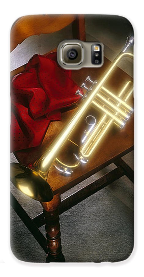 Trumpet Galaxy S6 Case featuring the photograph Trumpet On Chair by Tony Cordoza