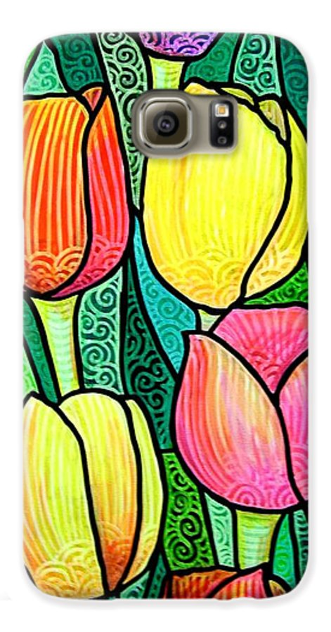 Tulips Galaxy S6 Case featuring the painting Tulip Expo by Jim Harris