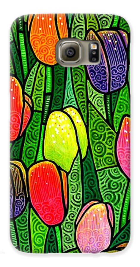 Tulips Galaxy S6 Case featuring the painting Tulip Glory by Jim Harris