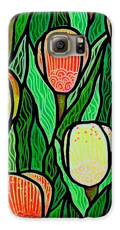 Tulips Galaxy S6 Case featuring the painting Tulip Joy 2 by Jim Harris