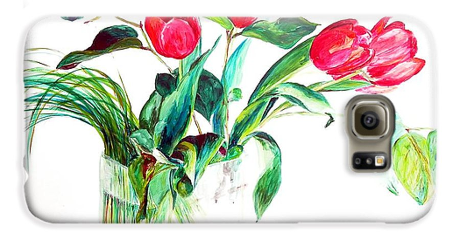 Flower Galaxy S6 Case featuring the painting Tulipes by Muriel Dolemieux