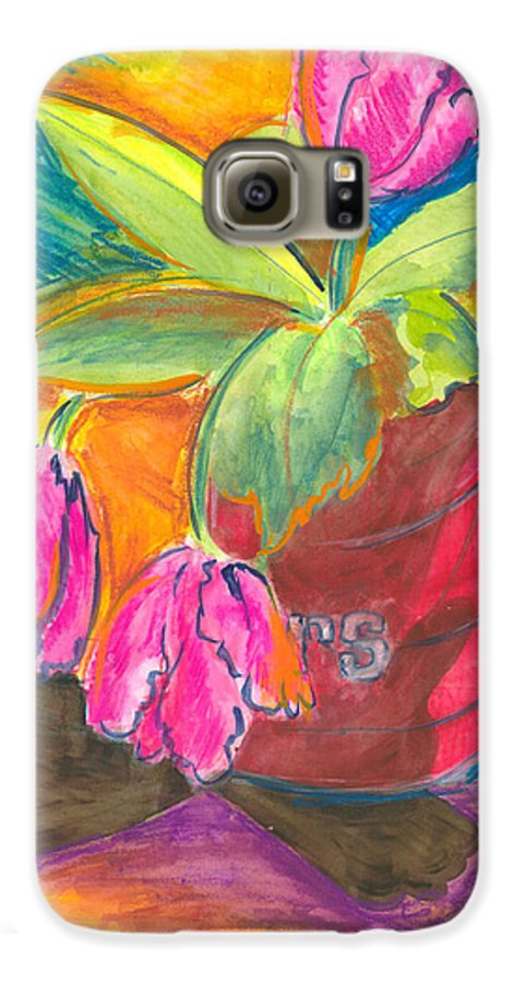 Flowers Galaxy S6 Case featuring the painting Tulips In Can by Jean Blackmer