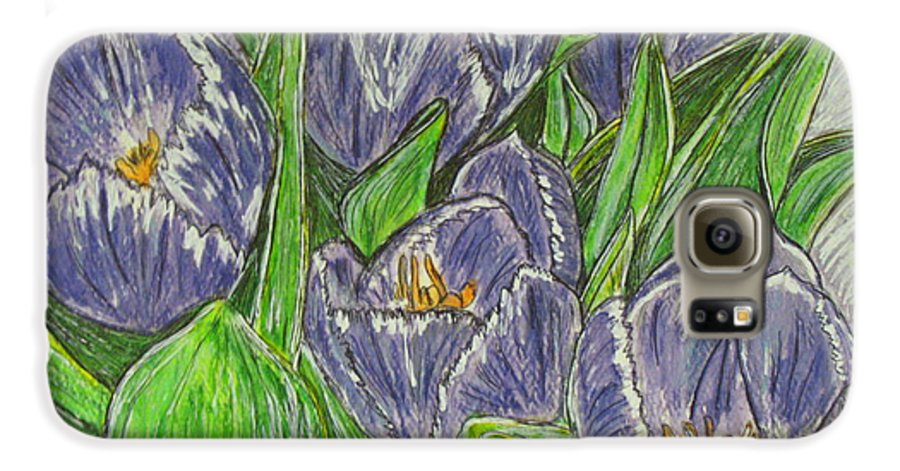 Tulips Galaxy S6 Case featuring the painting Tulips In The Spring by Kathy Marrs Chandler