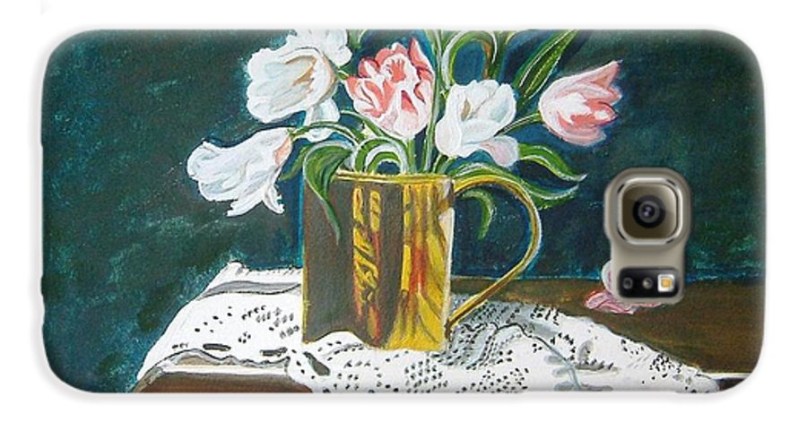 Tulips Galaxy S6 Case featuring the painting Tulips by Manjiri Kanvinde