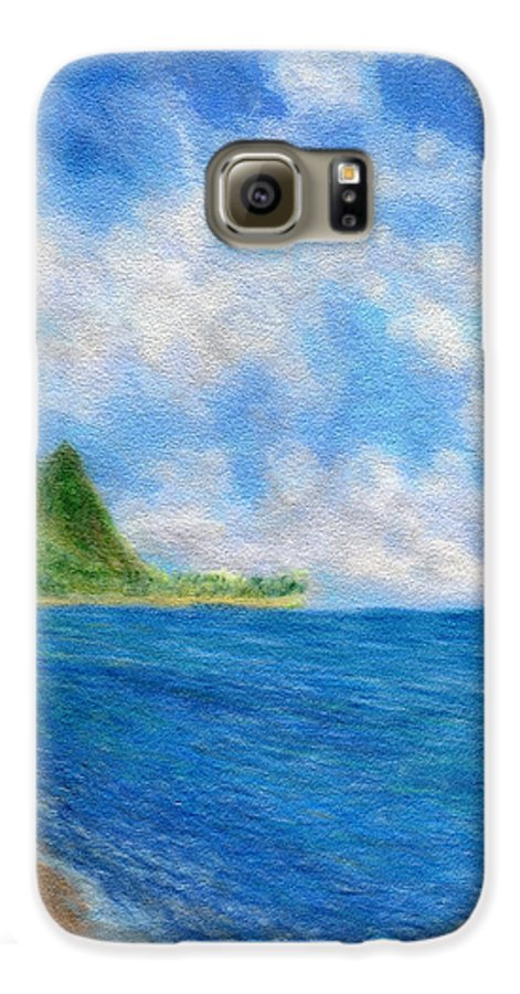 Rainbow Colors Pastel Galaxy S6 Case featuring the painting Tunnels Beach Sky by Kenneth Grzesik