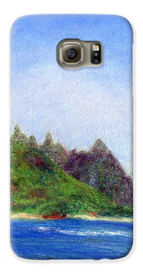 Rainbow Colors Pastel Galaxy S6 Case featuring the painting Tunnels Beach View by Kenneth Grzesik