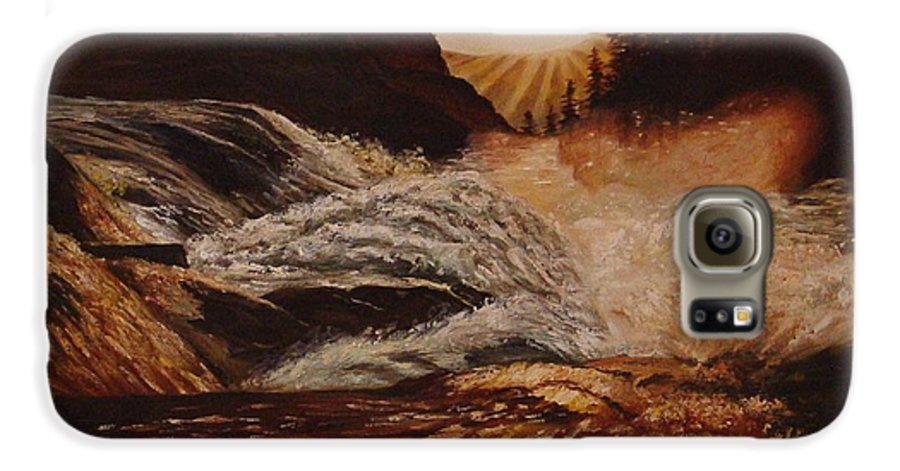 Water Galaxy S6 Case featuring the painting Turbulent Waters by Quwatha Valentine