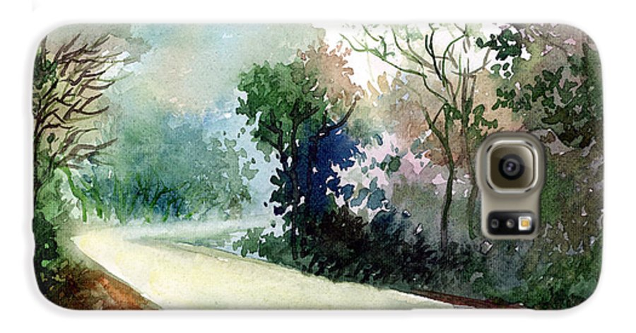 Landscape Water Color Nature Greenery Light Pathway Galaxy S6 Case featuring the painting Turn Right by Anil Nene