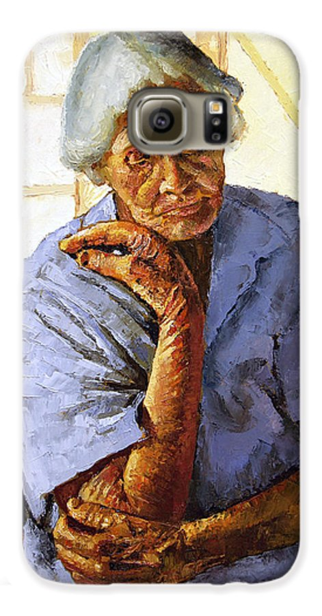Old Woman Galaxy S6 Case featuring the painting Turning Inward by John Lautermilch