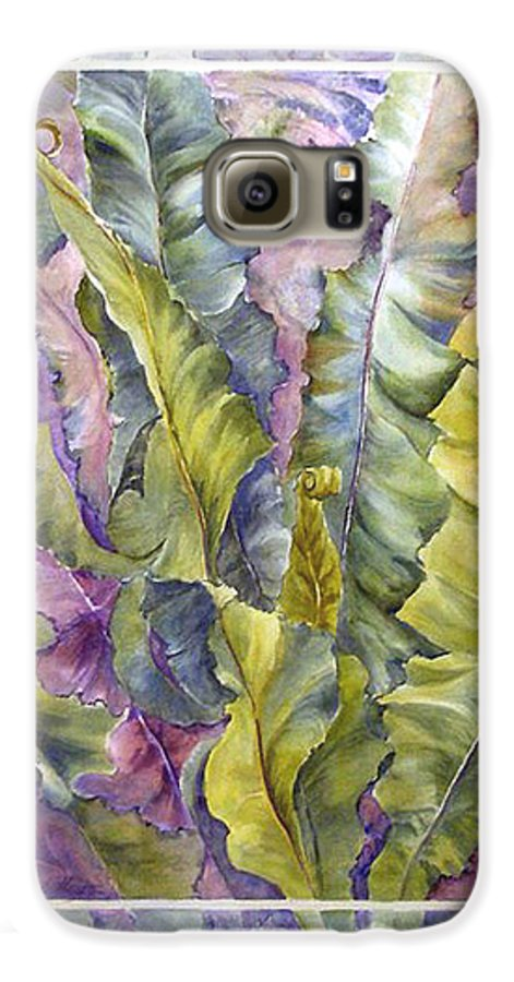 Ferns;floral; Galaxy S6 Case featuring the painting Turns Of Ferns by Lois Mountz