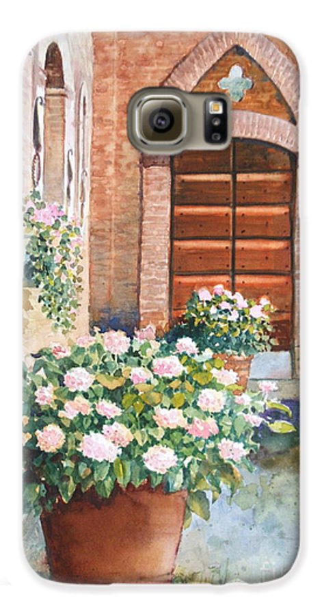 Tuscan Galaxy S6 Case featuring the painting Tuscan Courtyard by Ann Cockerill