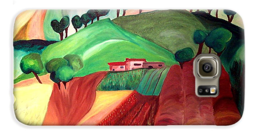Abstract Galaxy S6 Case featuring the painting Tuscan Landscape by Patricia Arroyo