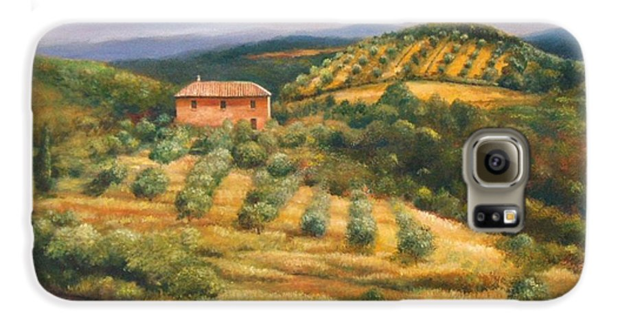 Landscape Galaxy S6 Case featuring the painting Tuscan Summer by Ann Cockerill