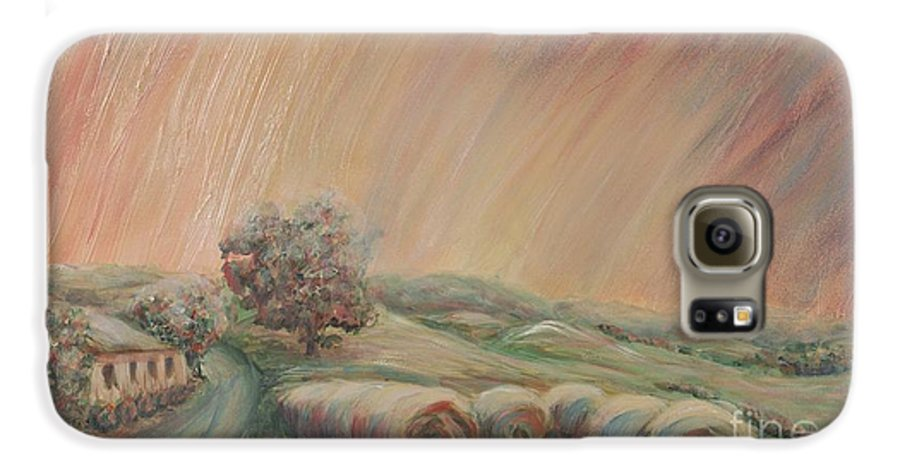 Landscape Galaxy S6 Case featuring the painting Tuscany Hayfields by Nadine Rippelmeyer