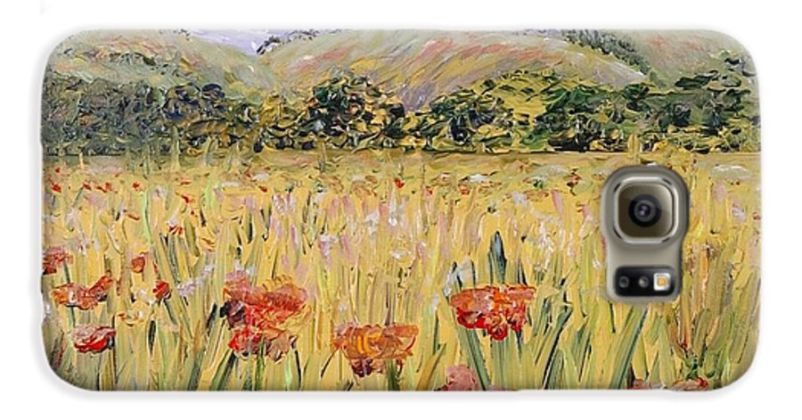 Poppies Galaxy S6 Case featuring the painting Tuscany Poppies by Nadine Rippelmeyer