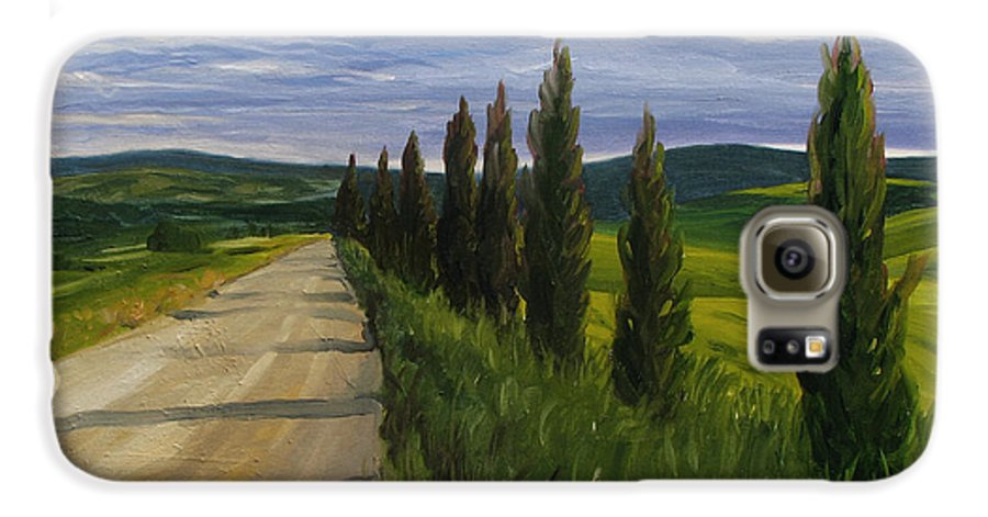 Galaxy S6 Case featuring the painting Tuscany Road by Jay Johnson