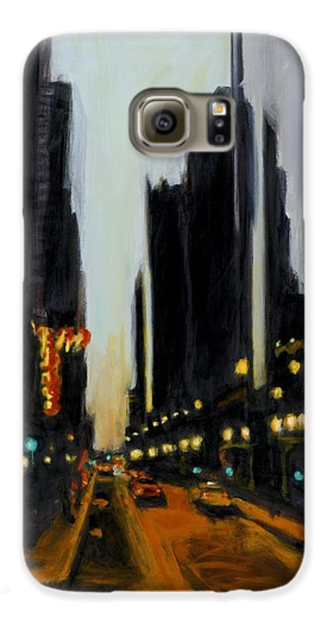 Rob Reeves Galaxy S6 Case featuring the painting Twilight In Chicago by Robert Reeves