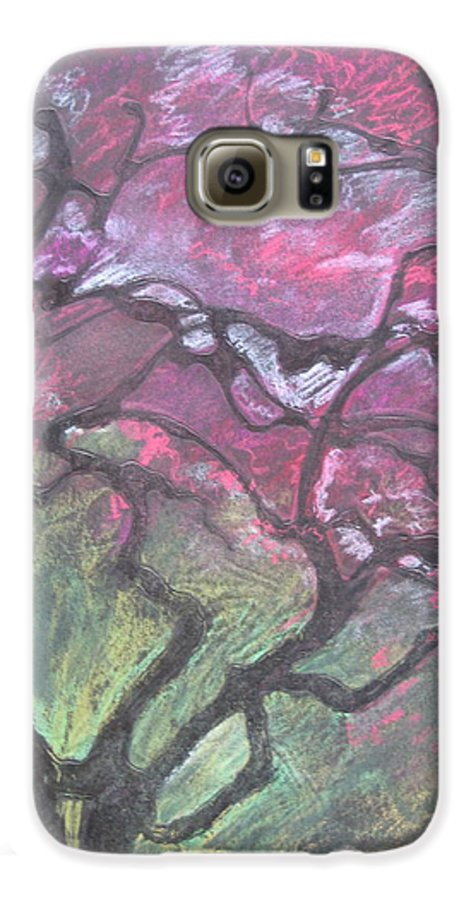 Pastel Galaxy S6 Case featuring the drawing Twisted Cherry by Leah Tomaino
