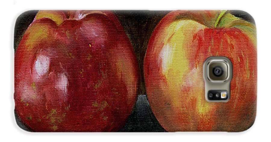 Oil Galaxy S6 Case featuring the painting Two Apples by Sarah Lynch