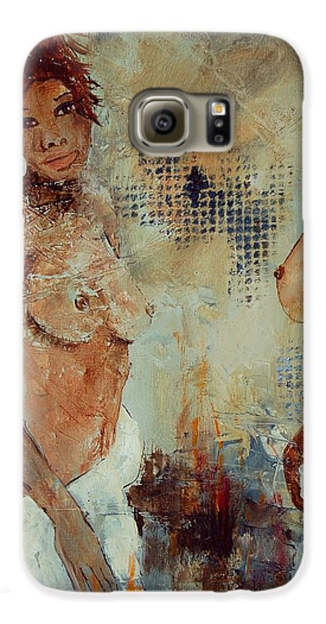 Girl Nude Galaxy S6 Case featuring the painting Two Black Sisters by Pol Ledent