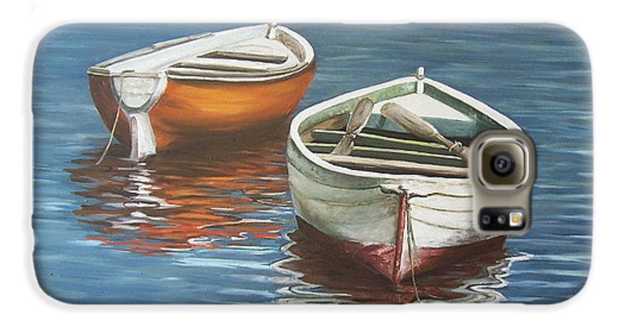 Boats Reflection Seascape Water Boat Sea Ocean Galaxy S6 Case featuring the painting Two Boats by Natalia Tejera