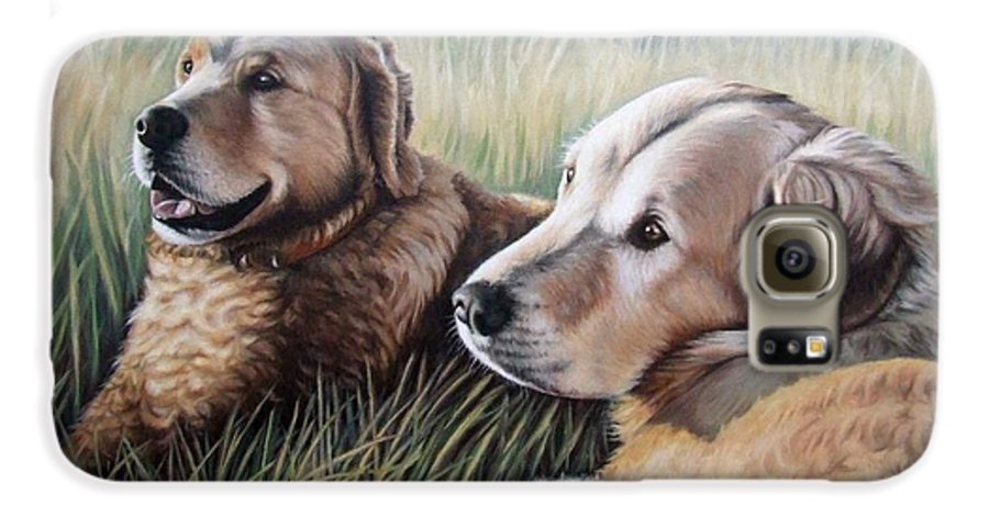 Dogs Galaxy S6 Case featuring the painting Two Golden Retriever by Nicole Zeug