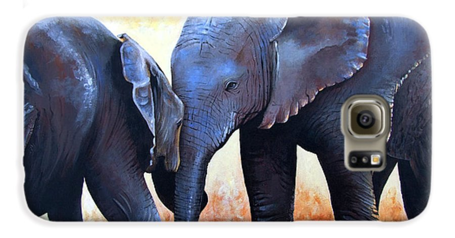 Elephants Galaxy S6 Case featuring the painting Two Little Elephants by Paul Dene Marlor