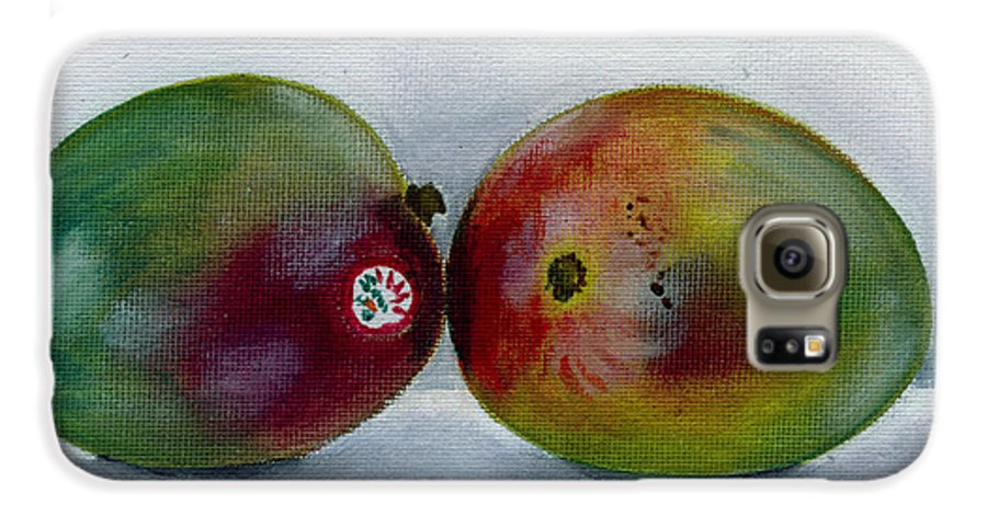 Still-life Galaxy S6 Case featuring the painting Two Mangoes by Sarah Lynch