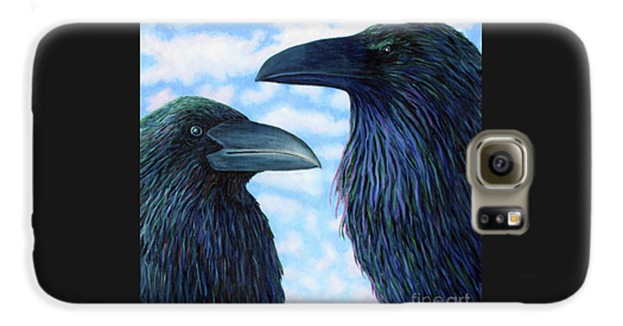 Raven Galaxy S6 Case featuring the painting Two Ravens by Brian Commerford