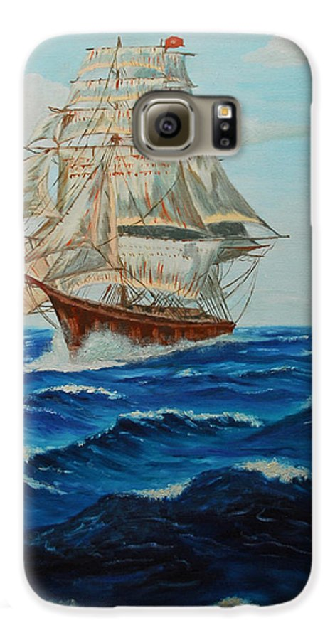 Ship Galaxy S6 Case featuring the painting Two Ships Sailing by Quwatha Valentine