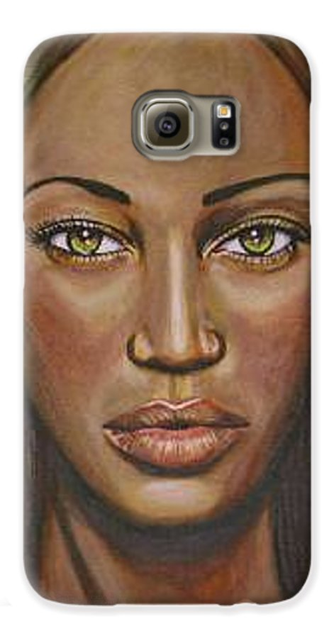 Woman Galaxy S6 Case featuring the painting Tyra by Sarah-Lynn Brown