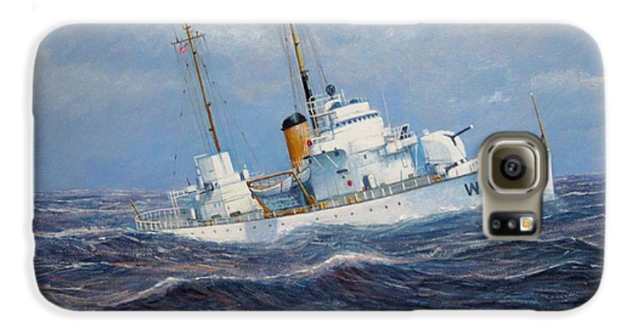 Marine Art Galaxy S6 Case featuring the painting U. S. Coast Guard Cutter Sebago Takes A Roll by William H RaVell III