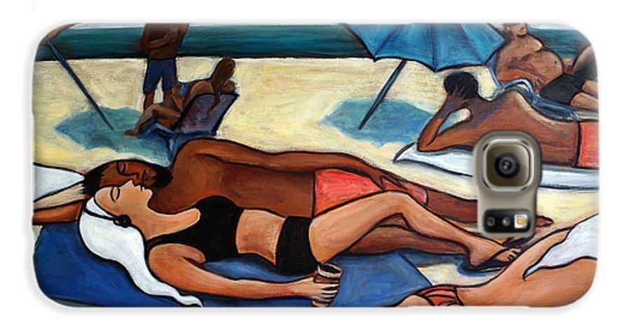 Beach Scene Galaxy S6 Case featuring the painting Un Journee A La Plage by Valerie Vescovi