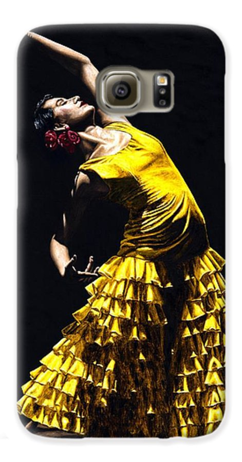 Flamenco Galaxy S6 Case featuring the painting Un Momento Intenso Del Flamenco by Richard Young