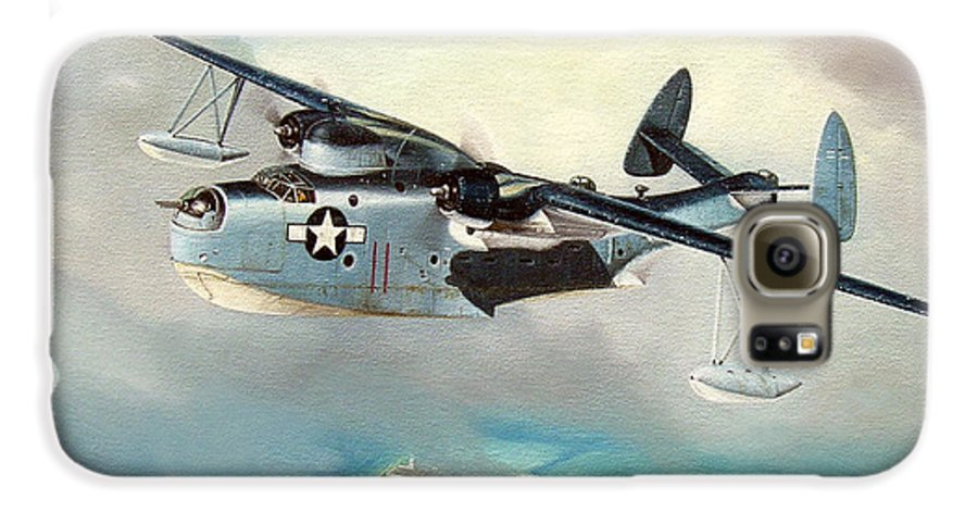 Military Galaxy S6 Case featuring the painting Uncle Bubba's Flying Boat by Marc Stewart