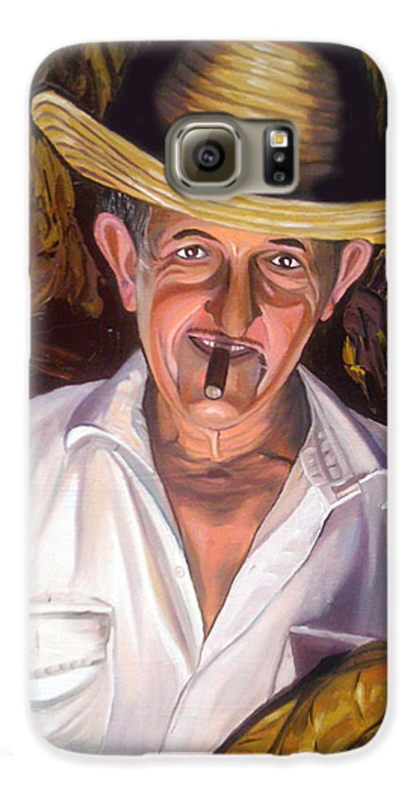 Cuban Art Galaxy S6 Case featuring the painting Uncle Frank by Jose Manuel Abraham