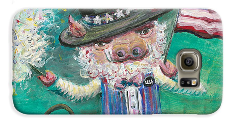 Fourth Of July Galaxy S6 Case featuring the painting Uncle Spam by Nadine Rippelmeyer